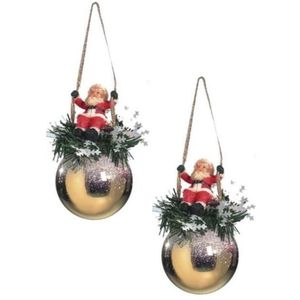 Weiste Christmas Tree Decorations Set of 2 - Gold Bauble with Santa on Swing