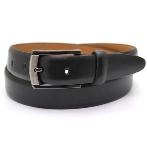 "Polished Leather Suit Belt - Black Size Small Waist 32"" - 34"""