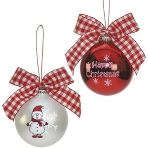 Snowman Baubles with Gingham Bows Tree Decorations x2