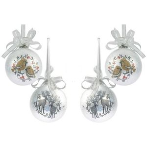 Wesite Christmas Tree Decorations Set of 4 - Bird Reindeer Silver Frosted Bauble