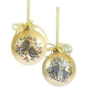 Bird & Reindeer Xmas Tree Decorations (gold) set of 4