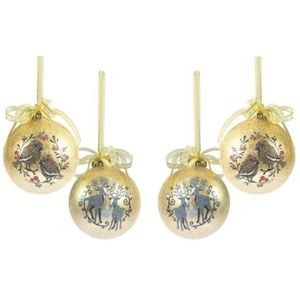 Wesite Christmas Tree Decorations Set of 4 - Bird Reindeer Gold Frosted Bauble