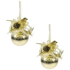 Weiste Christmas Tree Decorations Set of 2 - Gold Festive Bird on Bauble