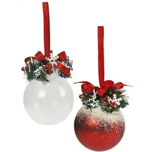 Weiste Christmas Tree Decorations Set of 2 - Red White Frosty Bauble with Holly