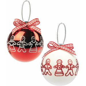 Gingerbread Men Red & White Christmas Tree Baubles x2