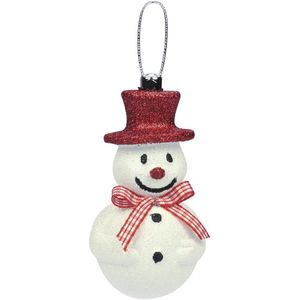 Snowman with Red Hat & Bow Hanging Tree Decorations x2
