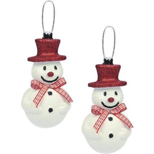 Weiste Hanging Christmas Tree Decorations (Set of 2) -Snowman with Red Hat & Bow