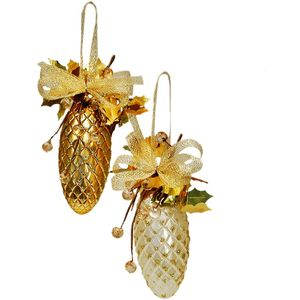 Gold & Cream Decorative Pine Cones Tree Decorations x4