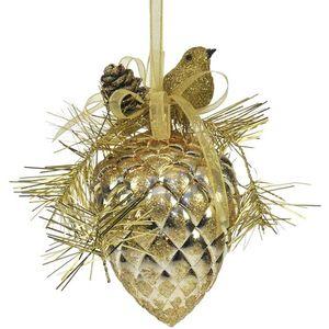 Festive Bird on Pine Cone (Gold) Tree Decoration x2