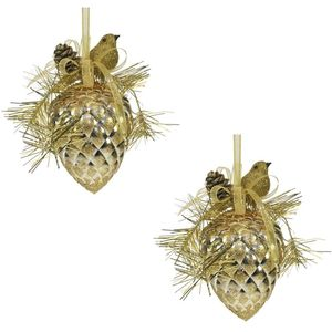 Weiste Christmas Tree Decorations Set of 2 - Gold Festive Bird on Pine Cone