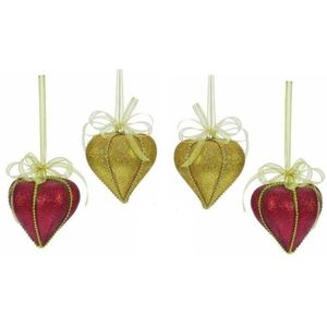 Weiste Christmas Tree Decorations Set of 4 - Red & Gold Slavic Elegance Bauble