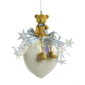 Weiste Christmas Tree Decoration - Teddy Bear on Heart Bauble with Blue Trim