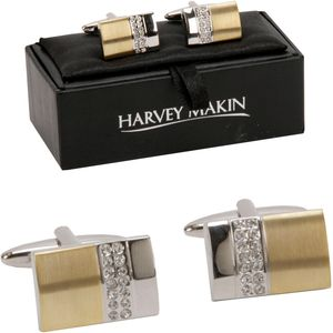 Harvey Makin Gold & Silver Cufflinks with Diamantes
