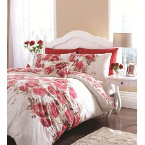 Catherine Lansfield Grace Red Single Bed Duvet Cover