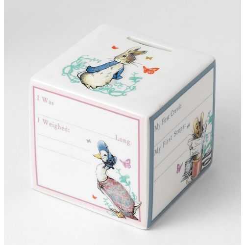 Beatrix Potter cube style money box with Peter & Jemima