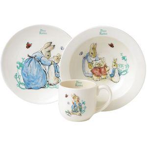 Beatrix Potter Peter Rabbit Three Piece Nursery Ceramic Breakfast Set