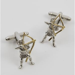 Archer with Golden Longbow and Arrow Cufflinks