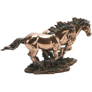 Juliana Polished Cold Cast Bronze Figurine - Two Wild Horses Running