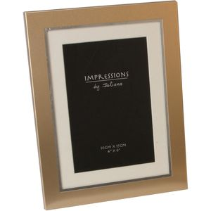 Two Tone Aluminium Gold Photo Frame with Mount 4x6""