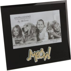 "Juliana Impressions Mirrored Black Glass Photo Frame 6"" x 4"" - Meow (Cat)"