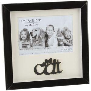 Black Shadow Box Photo Frame - Cat