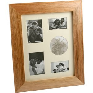 Wooden Photo Frame Collage Oak Finish Portrait 5 Photos