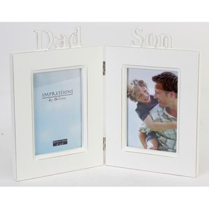 """Impressions Hinged Double Photo Frame 4"""" x 6"""" - Dad & Son"""