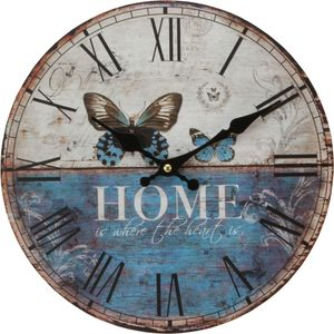 Hometime Round Wall Clock 30cm - Home Is Where The Heart Is (Butterflies)