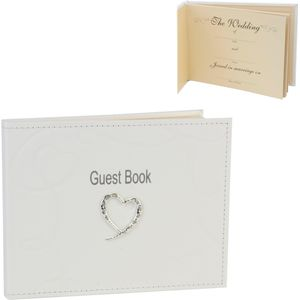 Wedding Guest Book Ivory PU Leather with Swirling Heart