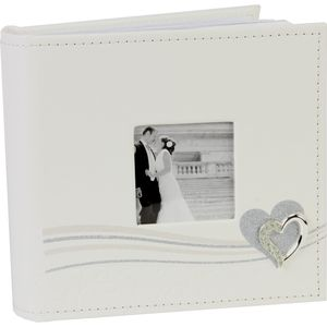"Amore Wedding Photo Album Glitter Line/Heart Icon Holds 80 4"" x 6"" Prints"
