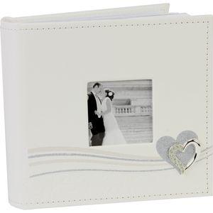 "Amore Wedding Photo Album Glitter Line/Heart Icon Holds 80 4"" x 6"" Prints"