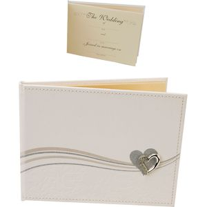 Wedding PU Leather Guest Book Glitter line Heart Icon