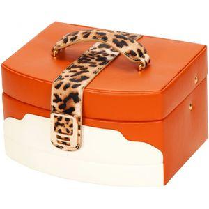 Mele & Co Leatherette Jewellery Case - Leopard Print Accent Lexie