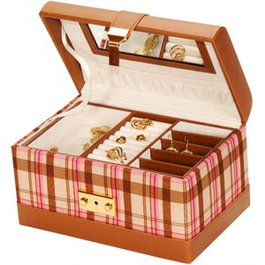 Mele & Co Summer Jewellery Case - Pink Plaid Wendy