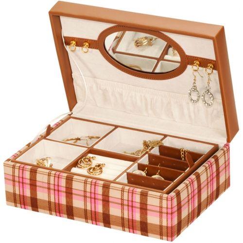 Mele & Co Summer Jewellery Box  - Pink Plaid Wendy