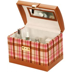 Pink Plaid Vanity Case with travel Jewellery Case