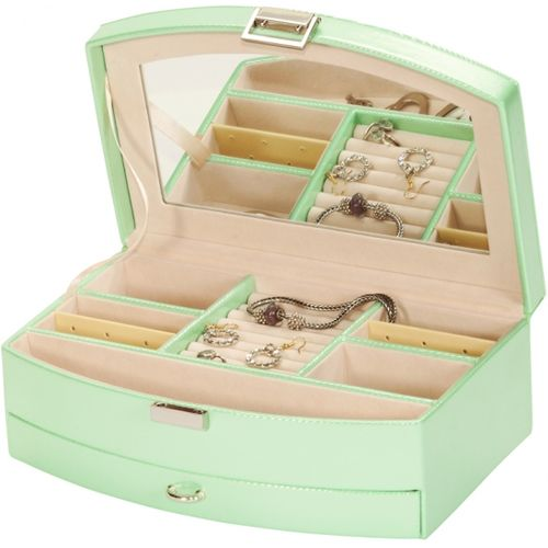 Mele & Co Leatherette Jewellery Box - Misty Green Gemma
