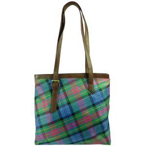 Pell Mell Leather Tote Bag Purple/Blue Tartan