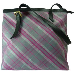 Pell Mell Leather Tote Bag Pink/Grey Tartan