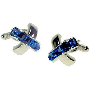Blue Sapphire Crystal Cross Cufflink