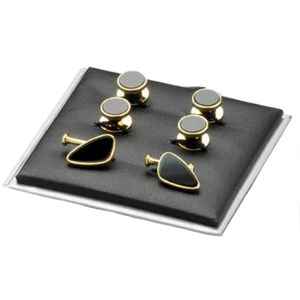 Black Onyx & Gold Finish Cufflinks & Dress Studs