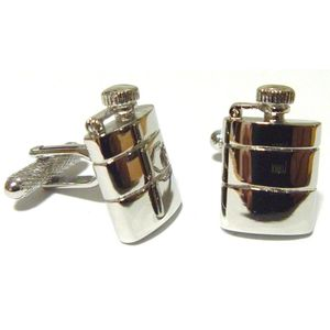Hip Flask Cufflinks - Silver Finish