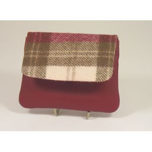 Mala Leather Abertweed Flap Coin Purse - Red Tweed