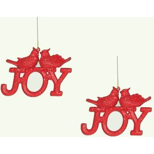 Christmas Tree Hanging Decorations - JOY Red Pack of 2