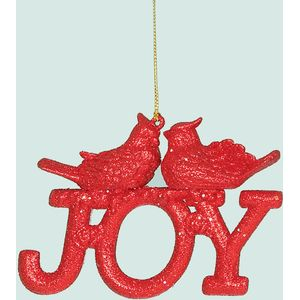 Joy with bird Tree Decorations Set of 2 (red)