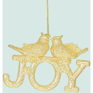 Joy with bird Tree Decorations Set of 2 (Gold)
