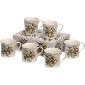 Heath McCabe Countess Crocus set of 6 Fine China Mugs