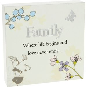 Floral Design Wall Art Plaque - Family