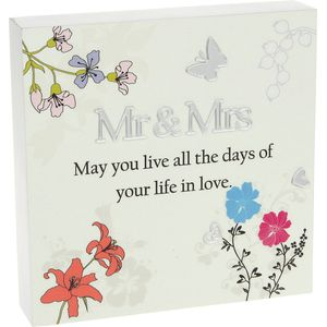 Floral Design Wall Art Plaque - Mr & Mrs