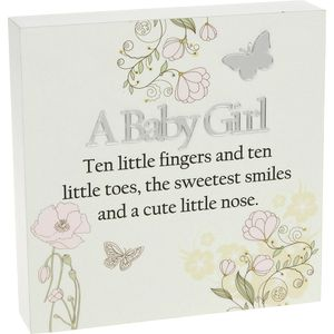 Floral Design Wall Art Plaque - A Baby Girl